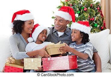 家, クリスマス, アフロ - american, 祝う, 家族