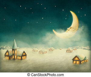 家, クリスマス, 冬