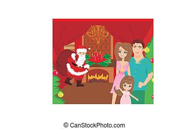 家, クリスマス, 家族