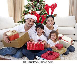 家, クリスマス, 祝う, 家族, 幸せ