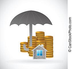 家, コイン, 傘, underneath.