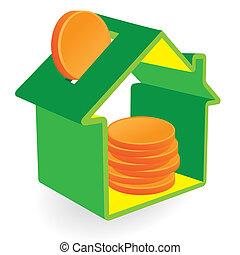 家, コイン, 緑, 貯金箱