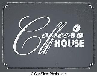 家, コーヒー, デザイン, 黒板