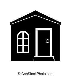 家, シルエット, 私用, 構造, 住宅