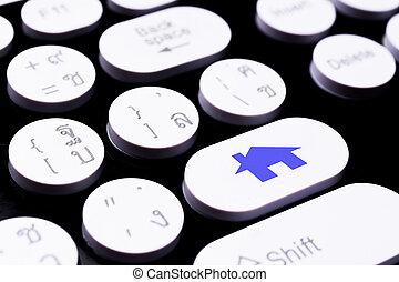 家, シンボル, 上に, キーボード