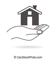 家, シンボル, 手を持つ