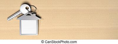 家, シンボル, keyring, そして, a, キー, 上に, a, 木製である, 背景, そこに, ある,...