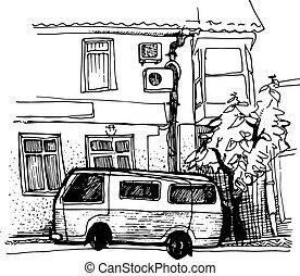 家, スケッチ, 駐車, バン, インク