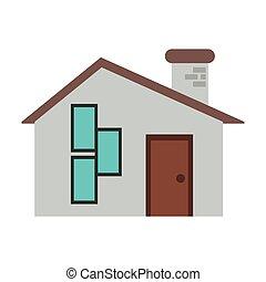 家, スタイル, 現代, れんが, 煙突