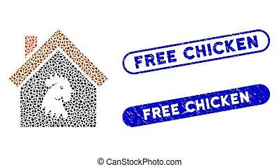 家, スタンプ, モザイク, オバール, 鶏, 無料で, 雄ん鶏, グランジ