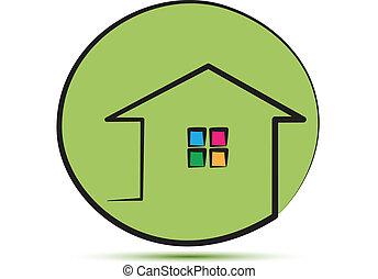 家, ストローク, 緑, 線, ロゴ