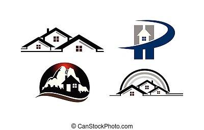 家, セット, テンプレート, 山