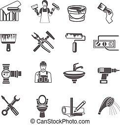 家, セット, 修理, アイコン