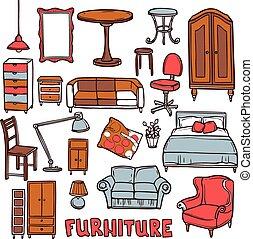 家, セット, 家具
