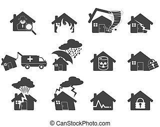 家, セット, 災害, アイコン