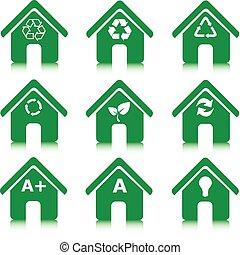 家, セット, 緑, アイコン