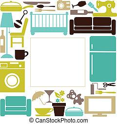 家, セット, elctronics, furnitures