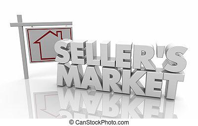 家, セール, イラスト, 印, 家, 売り手, 市場, 3d