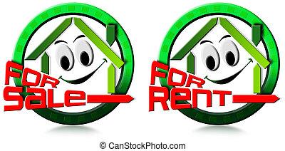 家, セール, 賃貸料