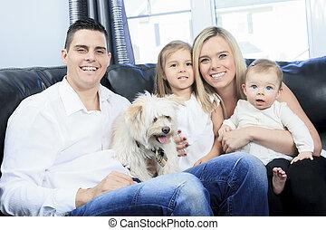 家, ソファー, ペット, 家族, 座りなさい