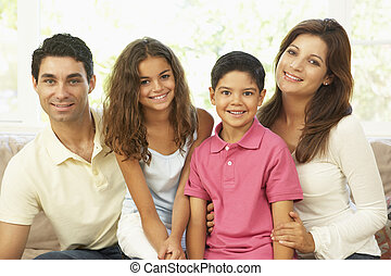 家, ソファー, 家族, モデル