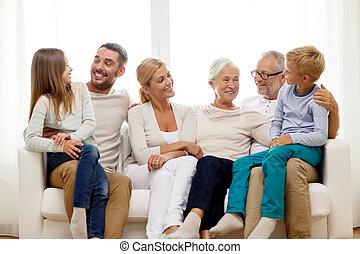 家, ソファー, 幸せな家族, モデル