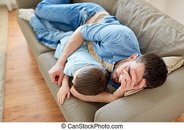 家, ソファー, 息子, 父, 睡眠