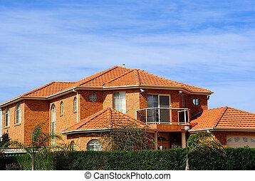 家, タイル, terracotta, 屋根