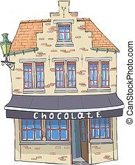 家, チョコレート, 古い, vector., shop.
