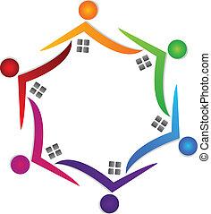 家, チームワーク, カラフルである, ロゴ