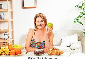 家, テーブル, 女, 脂肪, モデル