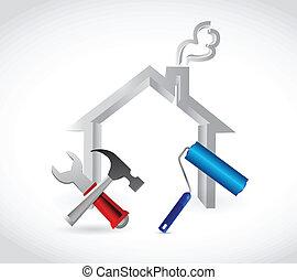 家, デザイン, イラスト, 道具
