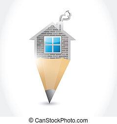 家, デザイン, イラスト, 鉛筆