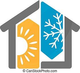 家, デザイン, コンディション調整, 空気