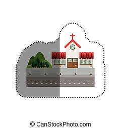家, デザイン, 隔離された, 教会