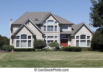 家, ドア, 贅沢, 赤