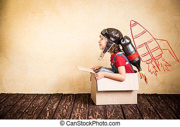 家, パック, 遊び, ジェット機, 子供