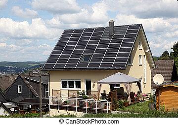 家, パネル, 太陽, 屋根