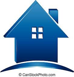 家, ビジネス, 実質, ロゴ, 3d, 財産