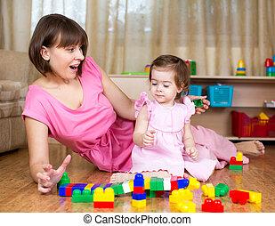 家, プレーしなさい, おもちゃ, お母さん, 子供