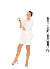 家, ヘッドホン, 女性実業家, モデル, 若い, 手掛かり