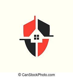 家, ベクトル, テンプレート, セキュリティー, イラスト, ロゴ, デザイン