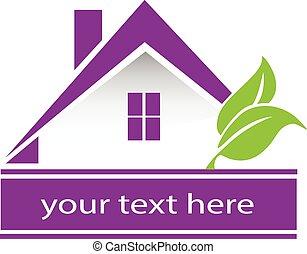 家, ベクトル, デザイン, leafs, ロゴ, カード