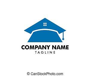 家, ベクトル, 教育, テンプレート, ロゴ