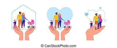 家, ベクトル, 滞在, あなたの, 保護しなさい, 検疫, イラスト, 区域, 概念, family.