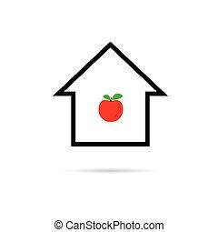 家, ベクトル, 漫画, アップル