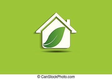 家, ベクトル, 緑, ロゴ