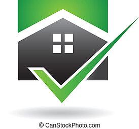 家, ベクトル, 緑, 点検, ロゴ