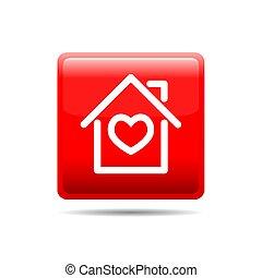 家, ベクトル, button., 赤, illustration.