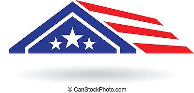 家, ベクトル, image., アメリカ, アイコン